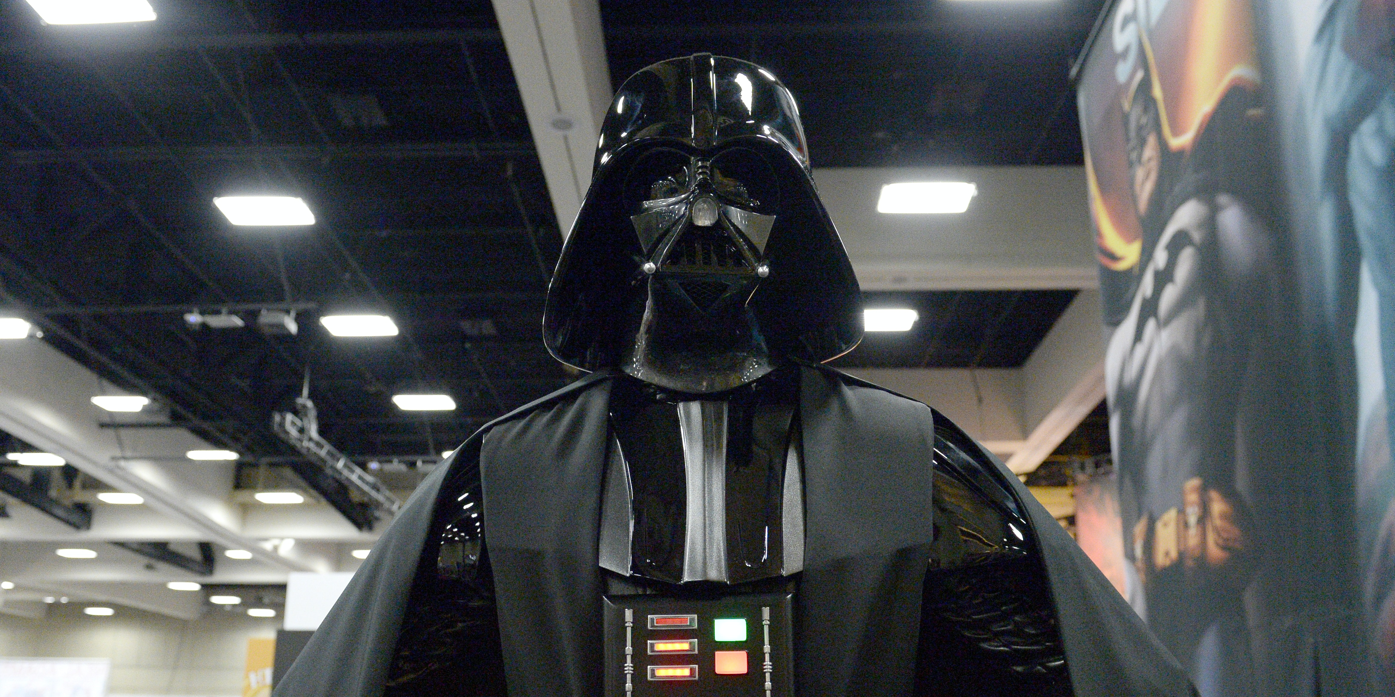 SAN DIEGO, CA - JULY 20:  Darth Vader cosplayer attends Comic-Con International 2016 preview night on July 20, 2016 in San Diego, California.  (Photo by Matt Cowan/Getty Images)