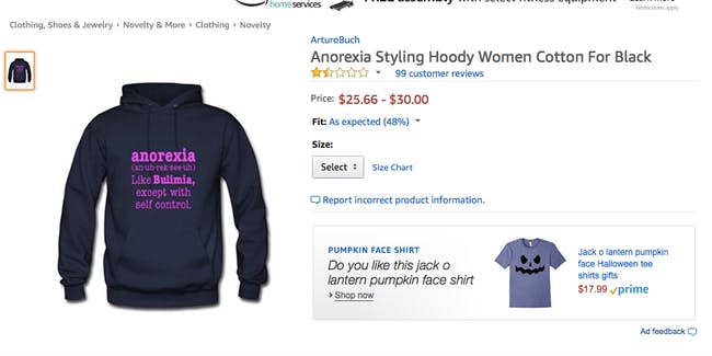 Amazon is Selling a Shirt Offensive to Anorexia and Bulimia ...