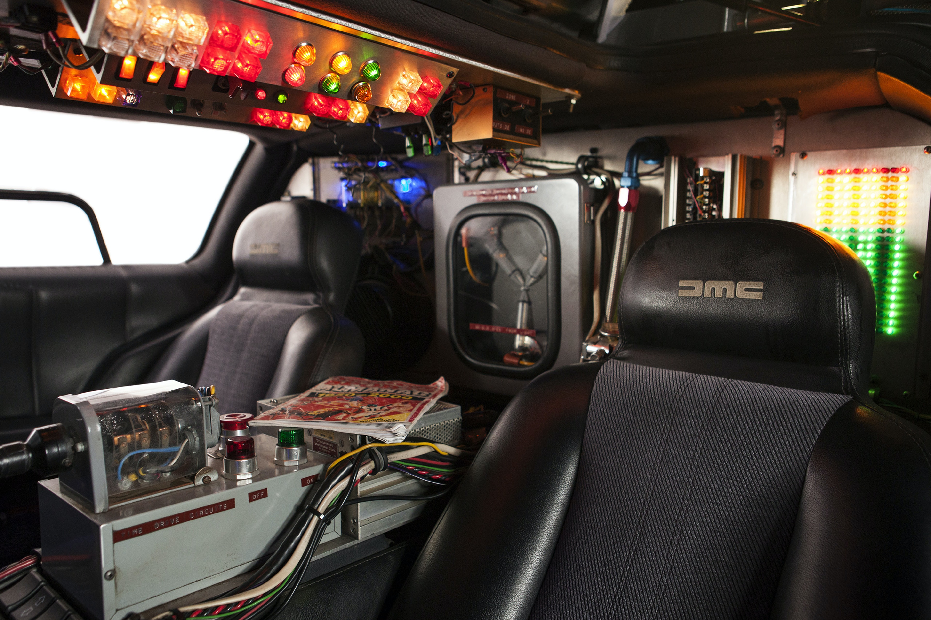 The interior of Doc's DeLorean. The electrical does look a little suspect.