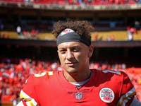 Kansas City Chiefs quarterback Patrick Mahomes (15) after a week 3 NFL game between the San Francisco 49ers and Kansas City Chiefs on September 23, 2018 at Arrowhead Stadium in Kansas City, MO. The Chiefs won 38-27.