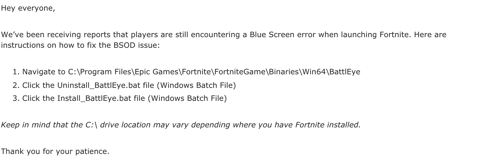 Fortnite Bsod How To Fix The Blue Screen Of Death Bug Inverse