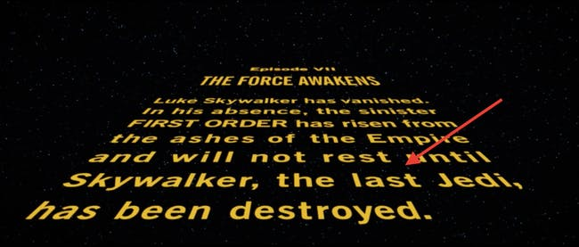 Luke Skywalker is the last Jedi according to the opening crawl in 'The Force Awakens'