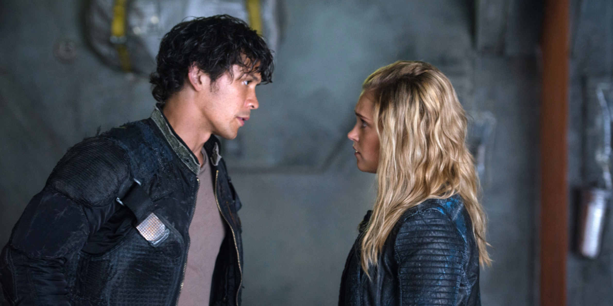 "Bob Morley and Eliza Taylor in ""The 100"""