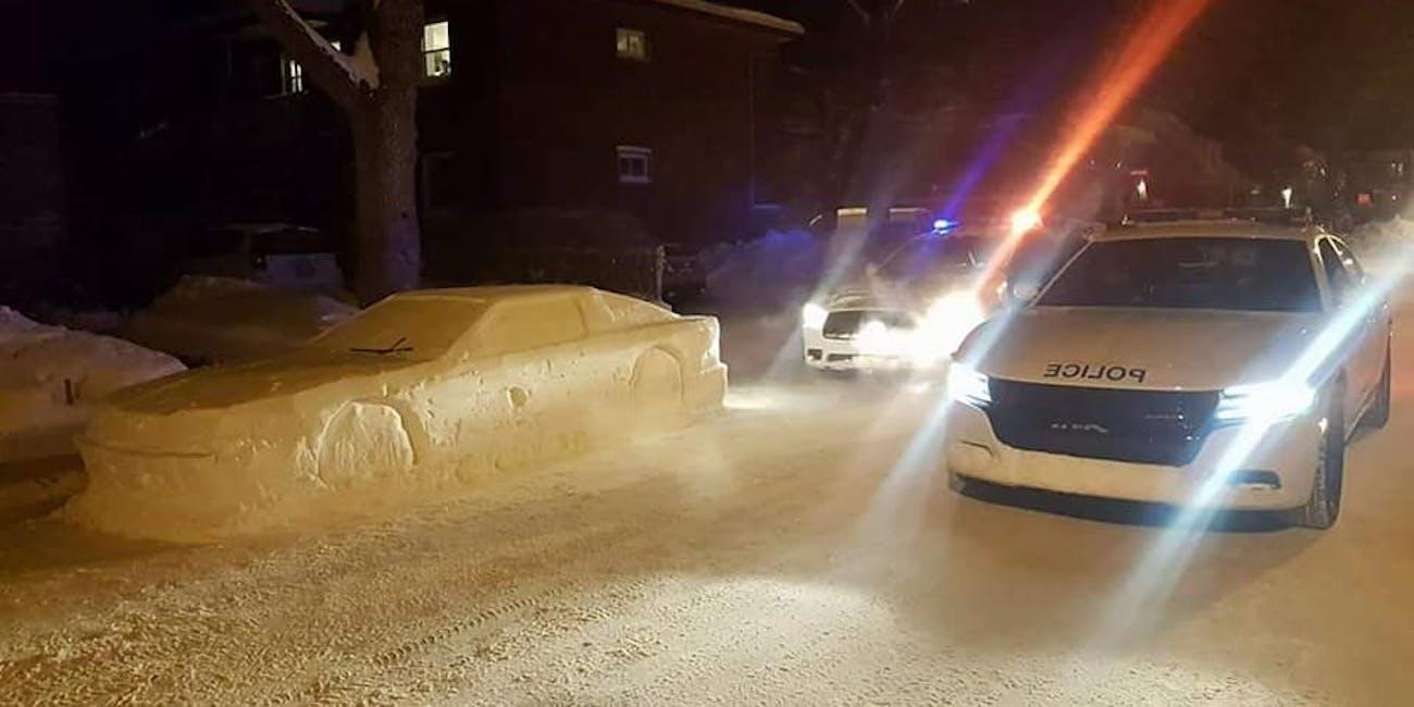 Fake snow car