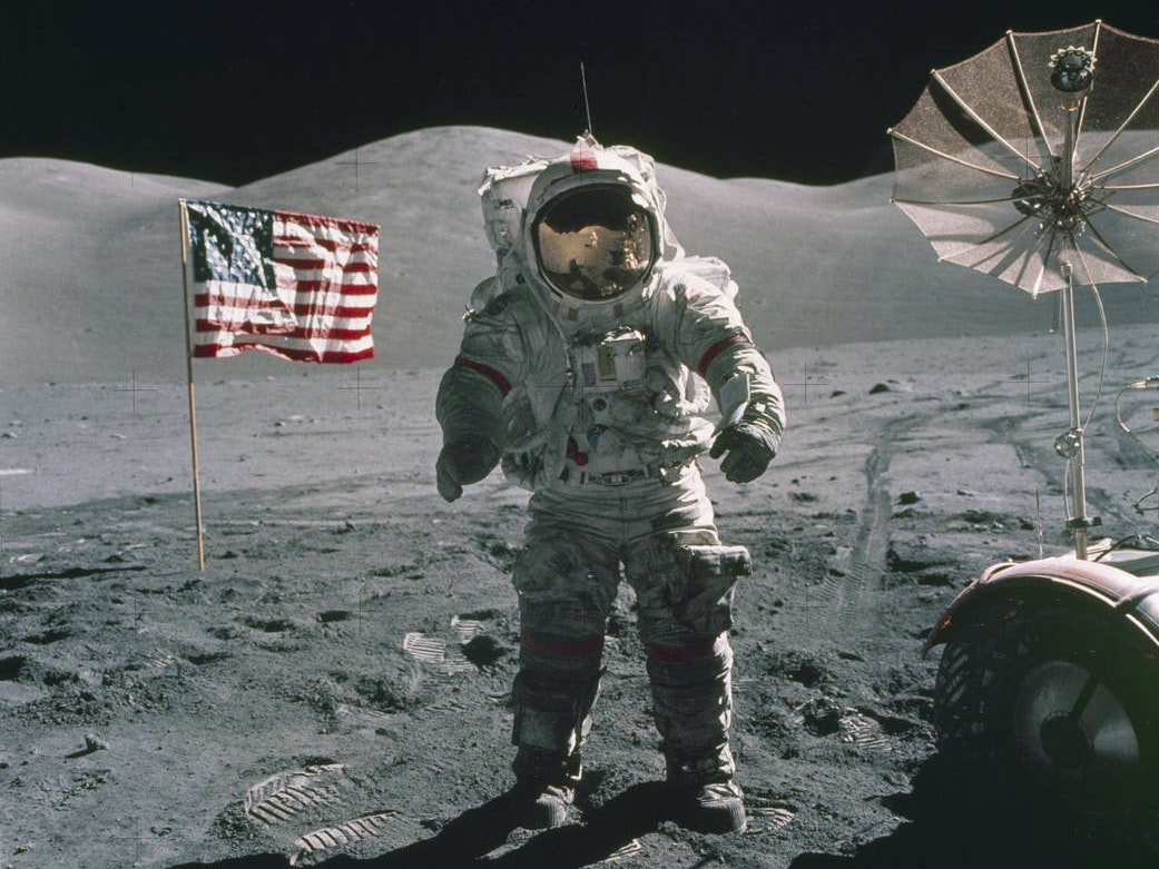 "Apollo 17 Mission Commander Eugene A. Cernan remarked that the astronauts were leaving as they came, ""with peace and hope for all mankind,"" after this mission in December 1972."