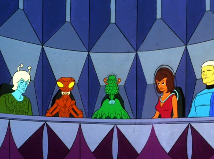 """A bunch of aliens in """"The Time Trap"""""""