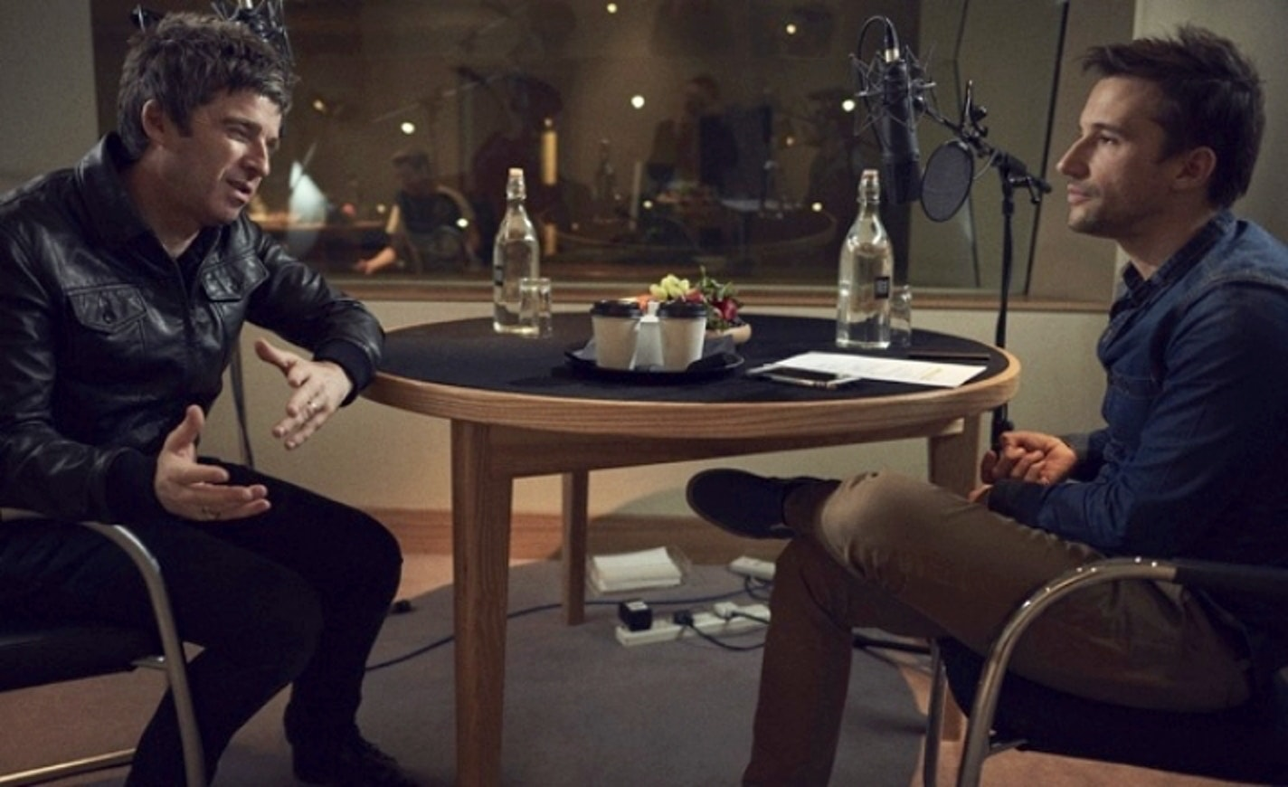 Noel Gallagher records the audio interview for 'Supersonic' with Mat Whitecross