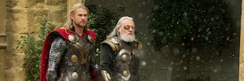 Thor and Odin in 'The Dark World'.