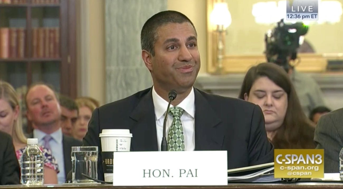 FCC chair Ajit Pai plays along with Senator Ted Cruz's friendly line of questioning on Thursday.