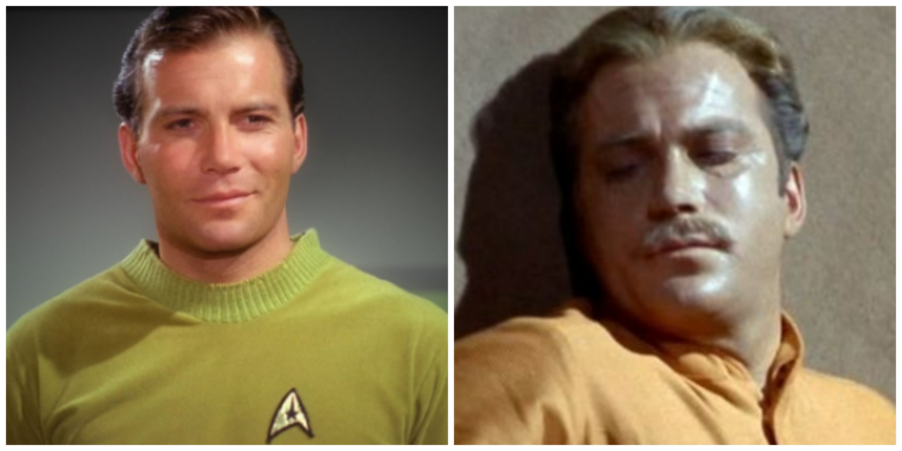 "LEFT: William Shatner as Captain James T. Kirk. RIGHT: William Shatner as George ""Sam"" Kirk"