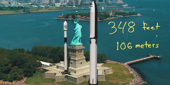 SpaceX BFR alongside statue of lbierty