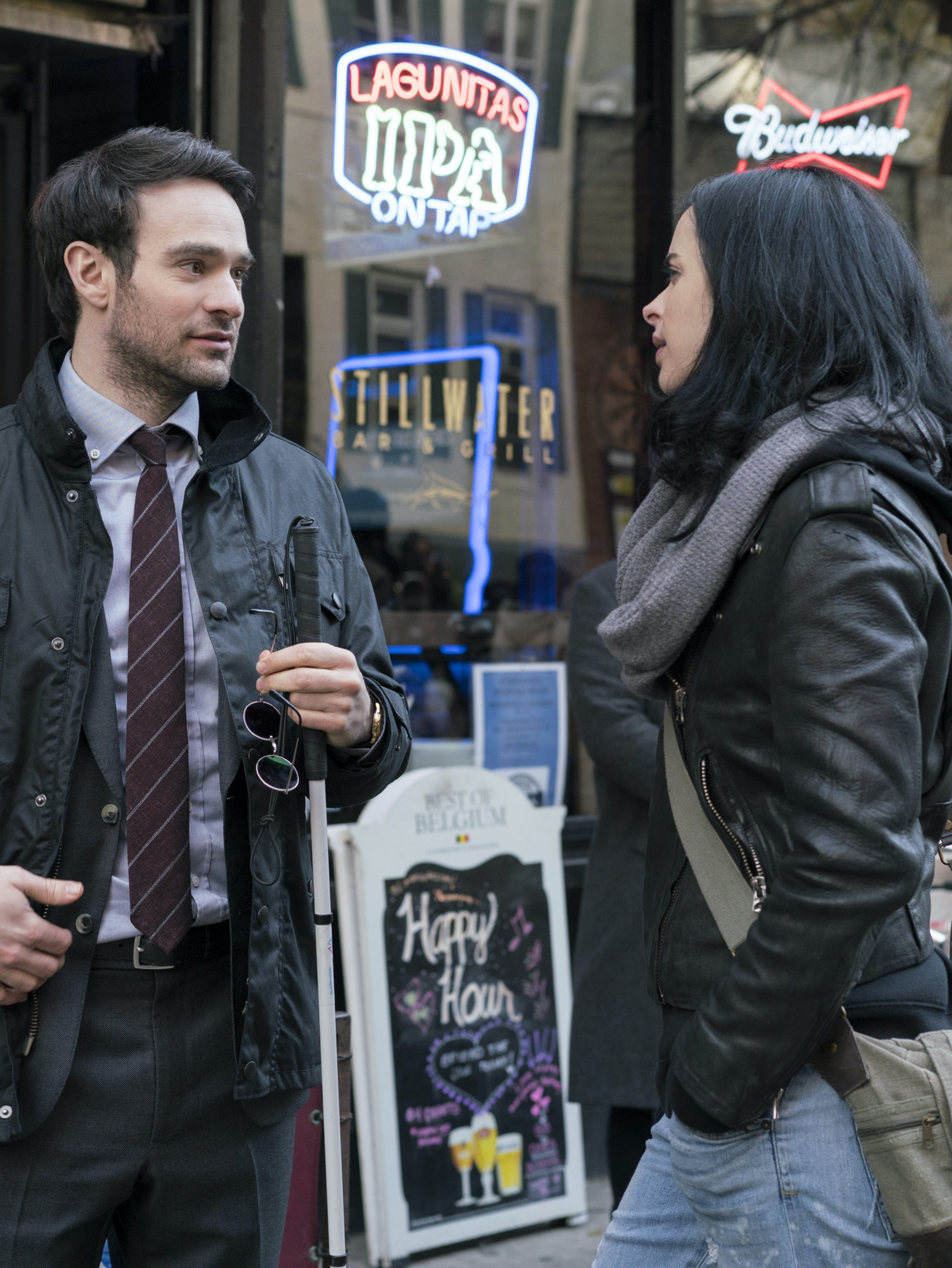 Matt Murdock Charlie Cox and Jessica Jones Krysten Ritter in Netflix and Marvel's 'The Defenders'