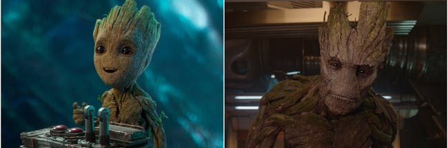 Young and Old Groot in 'Guardians of the Galaxy.'