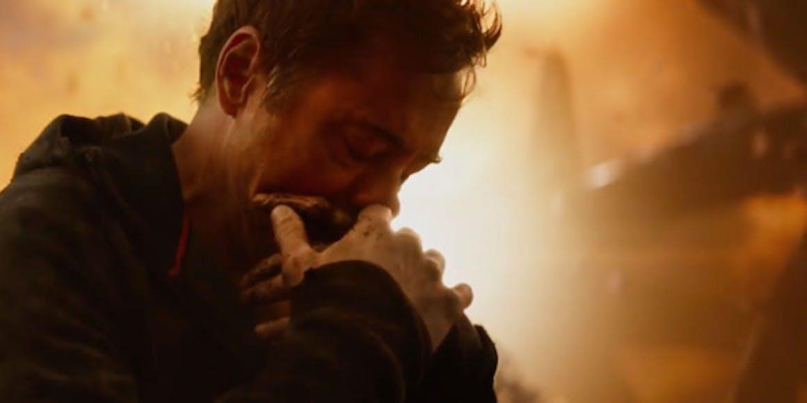Tony Stark weeps over something on Titan.