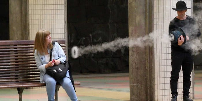Nothing strange about a smoke ring hat gun.