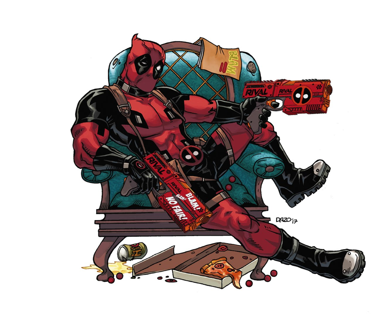 Deadpool likes pizza, beer, and Nerf guns that say Rival on them.