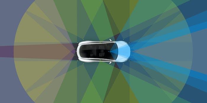 A Tesla autonomous vehicle assessing the roads.