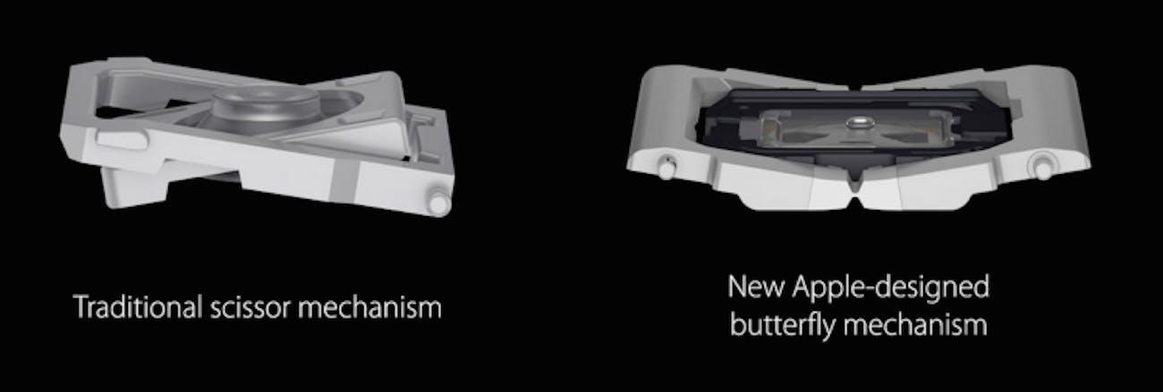 Apple's depiction of scissor versus butterfly mechanisms.
