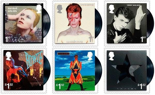 A selection from the Royal Mail's Bowie-themed stamp collection.
