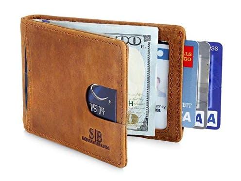 3cfc04bd05 SERMAN BRANDS RFID Blocking Slim Bifold Genuine Leather Minimalist Front  Pocket Wallet