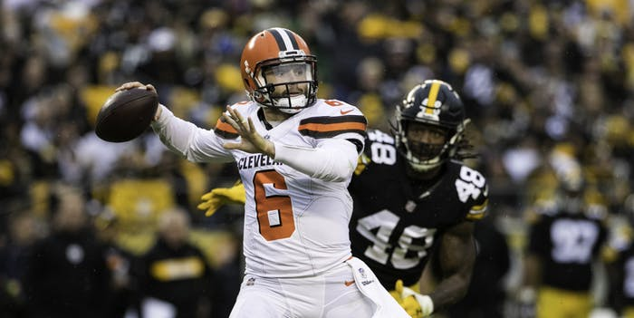 Cleveland Browns quarterback Baker Mayfield (6) throws a pass during the NFL football game between the Cleveland Browns and the Pittsburgh Steelers on October 28, 2018 at Heinz Field in Pittsburgh, PA.