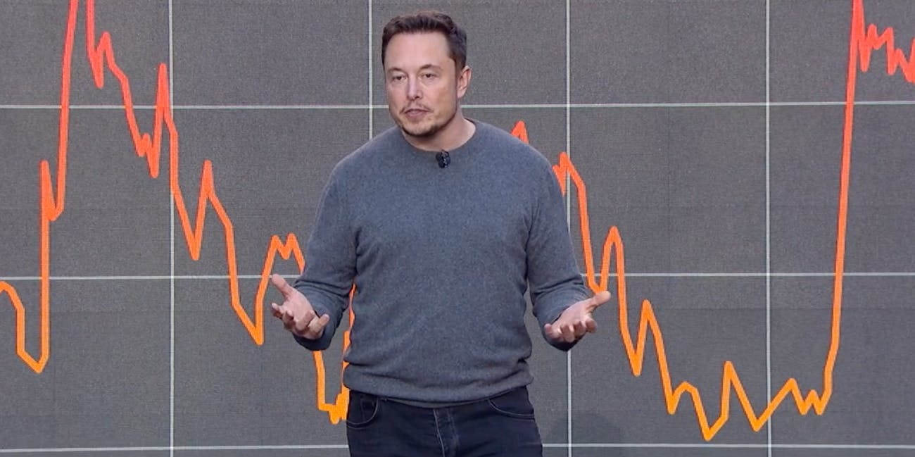 Elon Musk in front of a chart