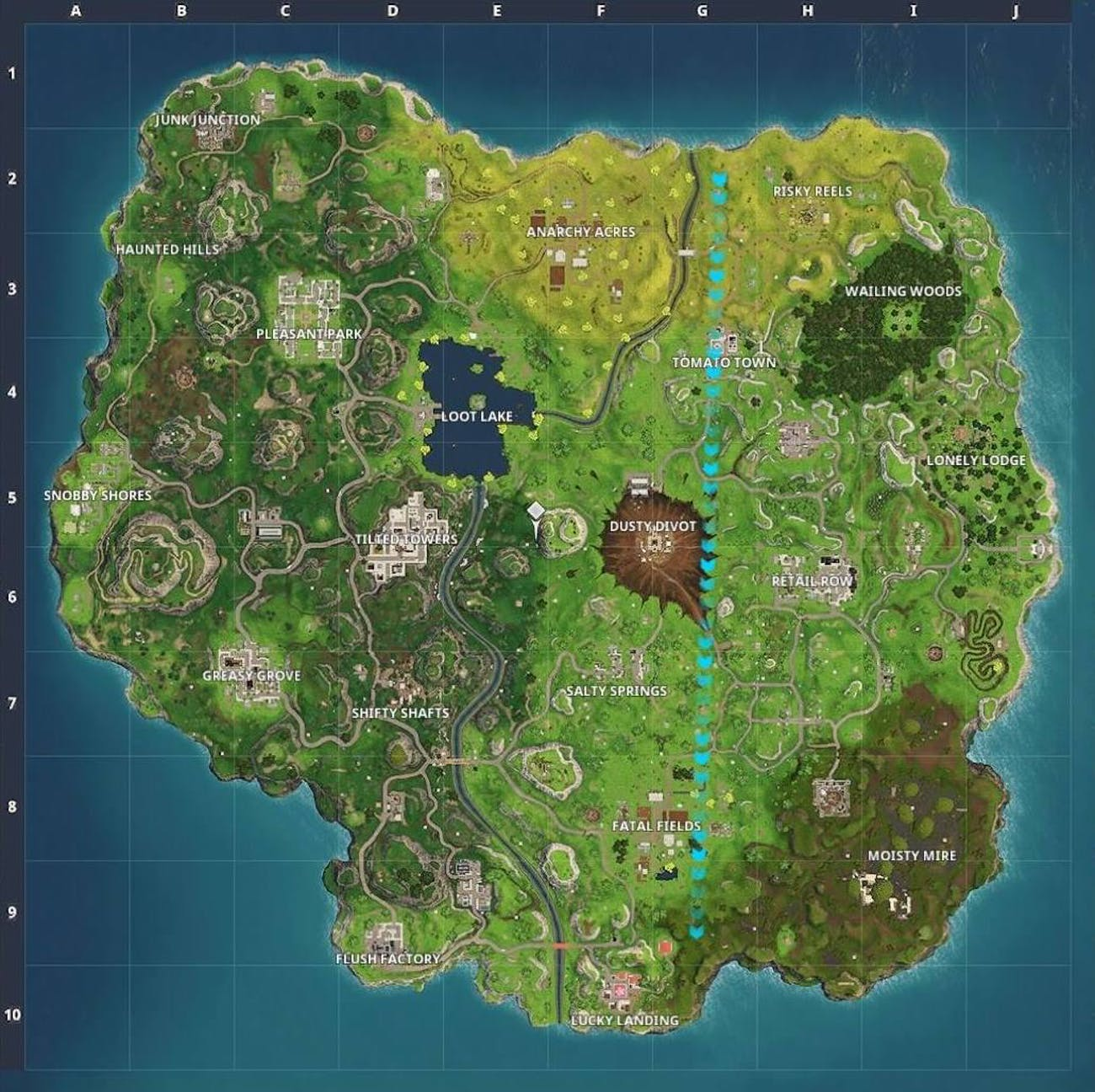 Here's a look at the new 'Fortnite: Battle Royale' map for Season 4, which adds Risky Reels and Dusty Divot after the destruction of Dusty Depot.