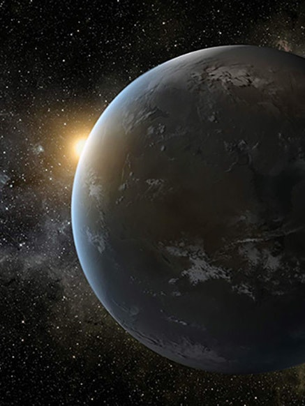 An artist renders what an exoplanet might look like.  Researchers studied Wolf 1061, a star just 14 light years away that might have a planet that could sustain life.