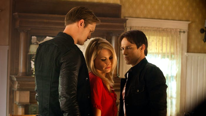 Alexander Skarsgard as Eric, Anna Paquin as Sookie, and Stephen Moyer as Bill in 'True Blood'