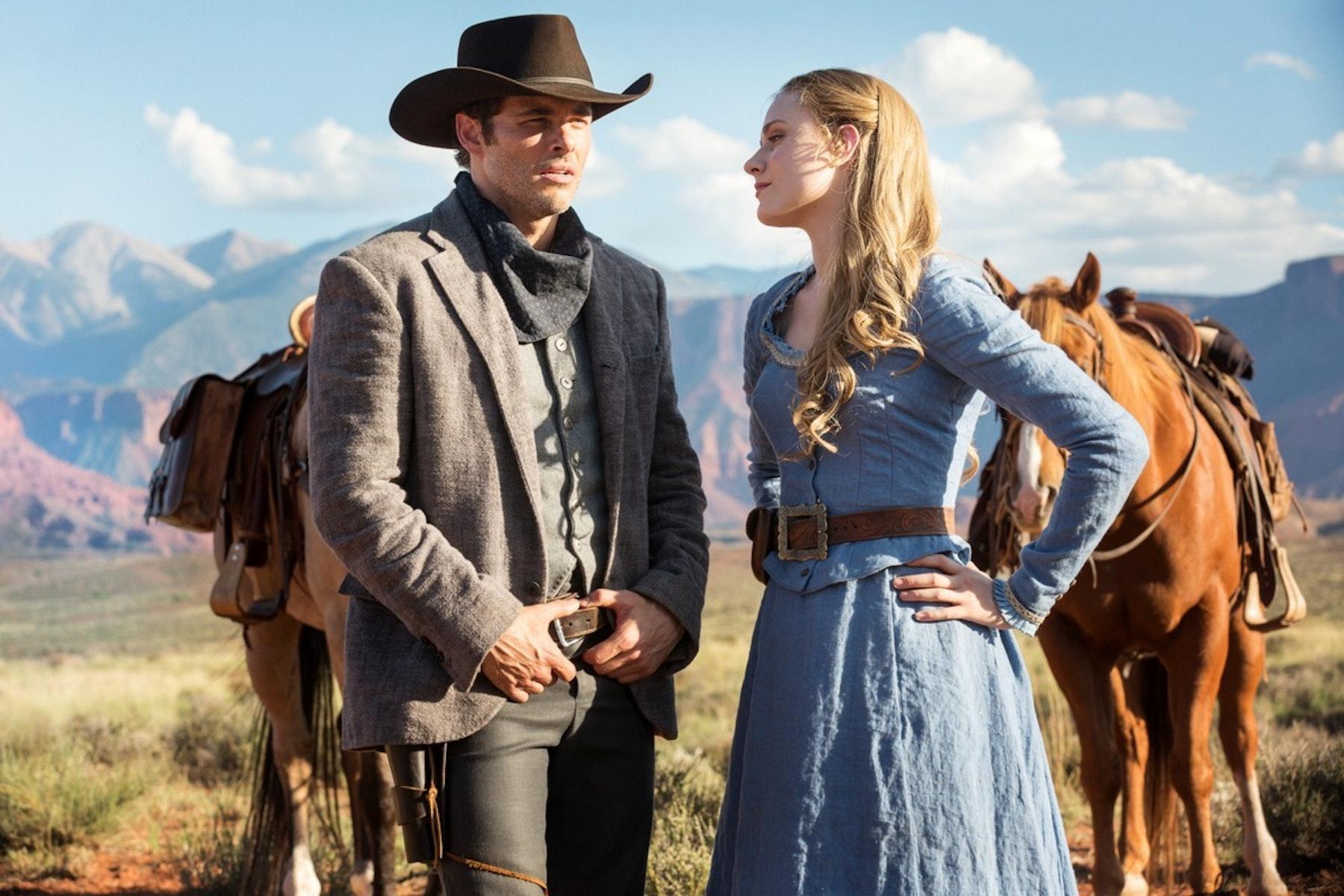 James Marsden as Teddy and Evan Rachel Wood as Dolores Abernathy.