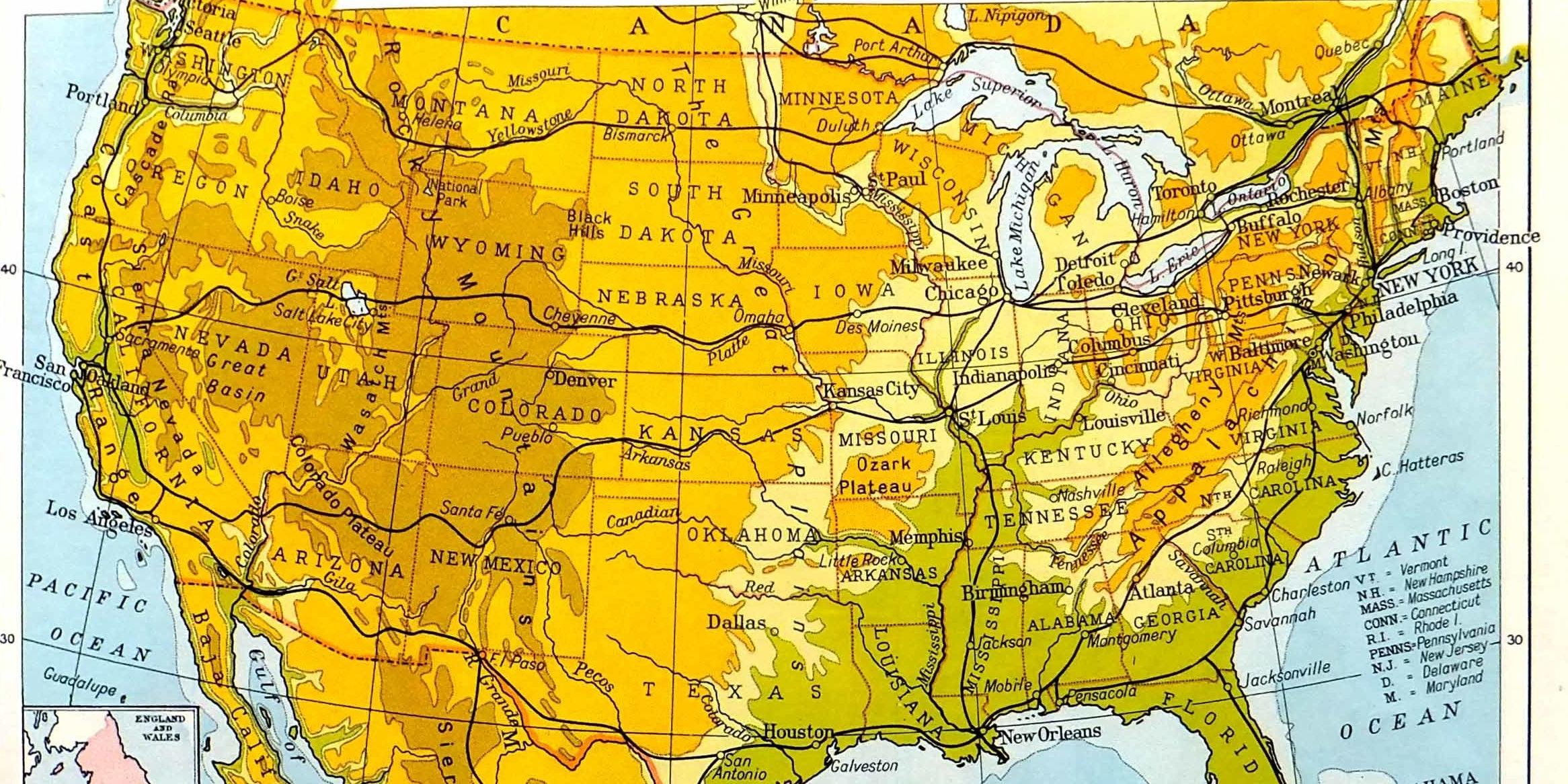 Vintage US map