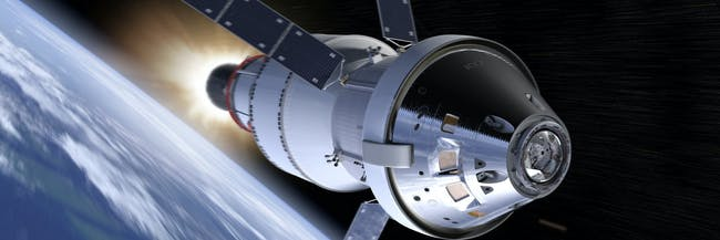 During Exploration Mission-1, the Orion spacecraft will travel to the moon and circle around it.