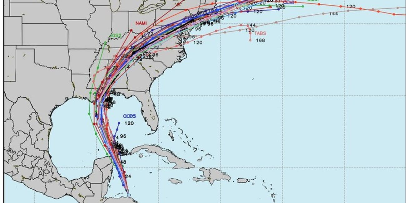 These Spaghetti Models Show All The Predicted Paths Nate Could Follow