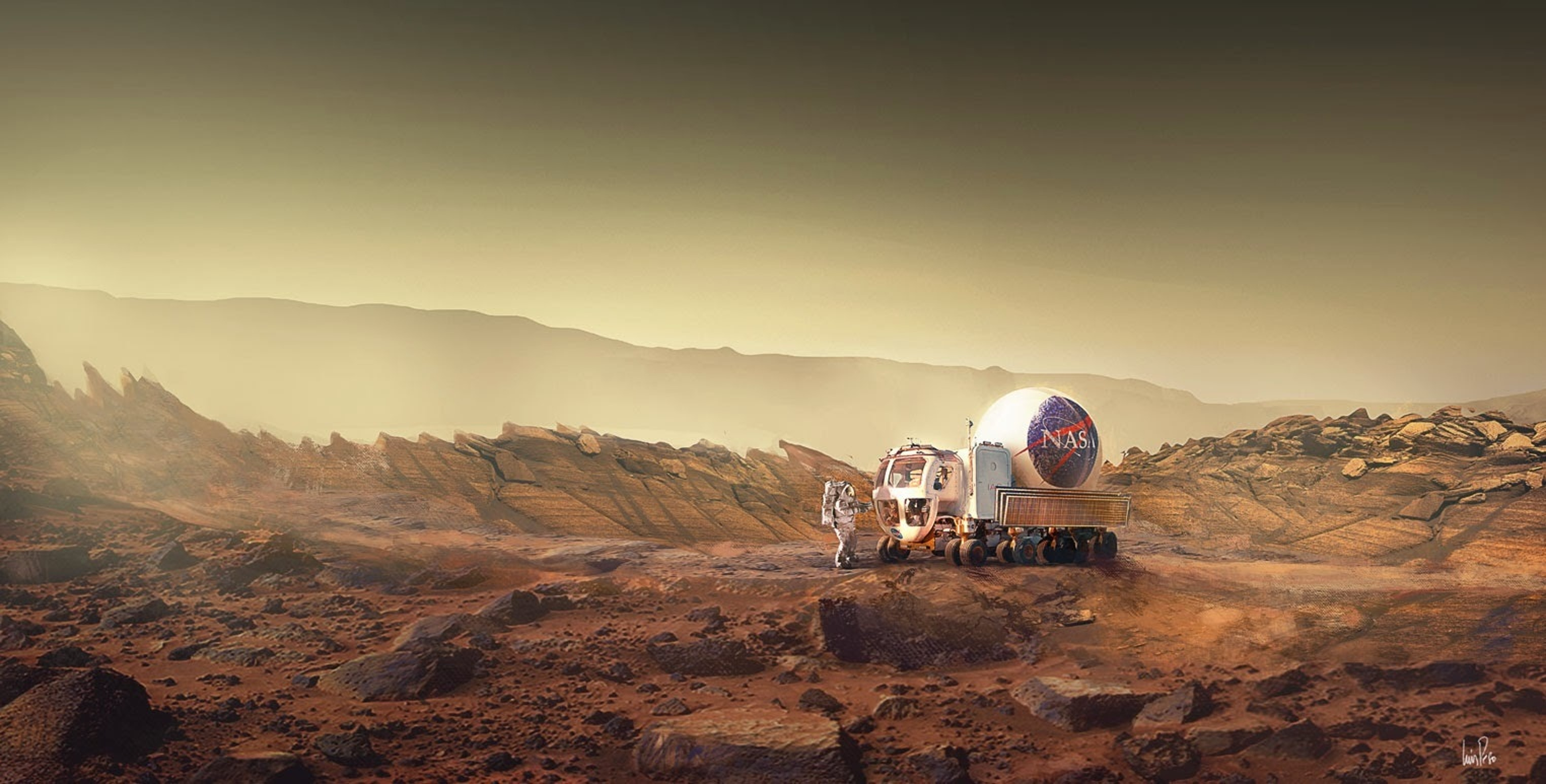 Luis Peso's depiction of Mars based on Andy Weir's book 'The Martian'.