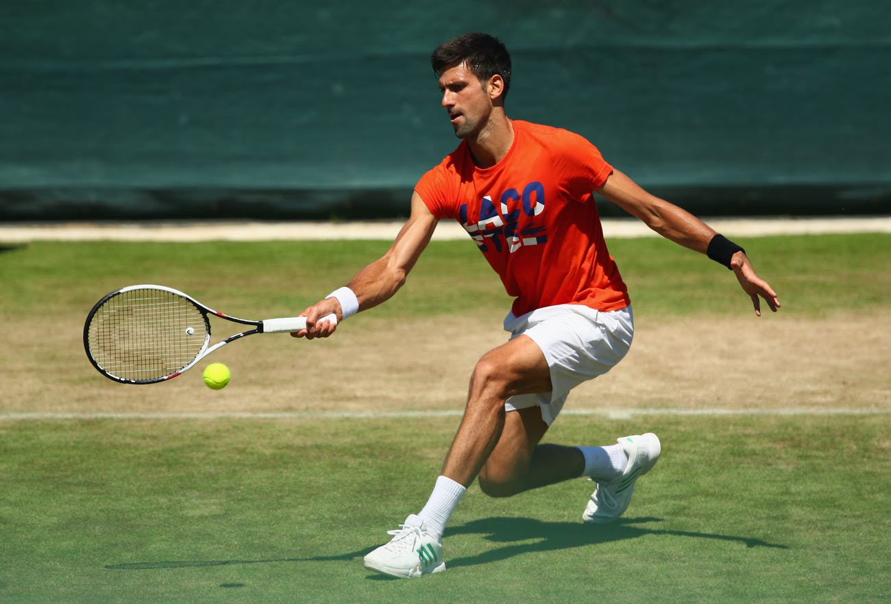 LONDON, ENGLAND - JULY 02: Novak Djokovic of Serbia in action during practice ahead of the Wimbledon Lawn Tennis Championships at the All England Lawn Tennis and Croquet Club on July 2, 2017 in London, England. (Photo by Clive Brunskill/Getty Images)