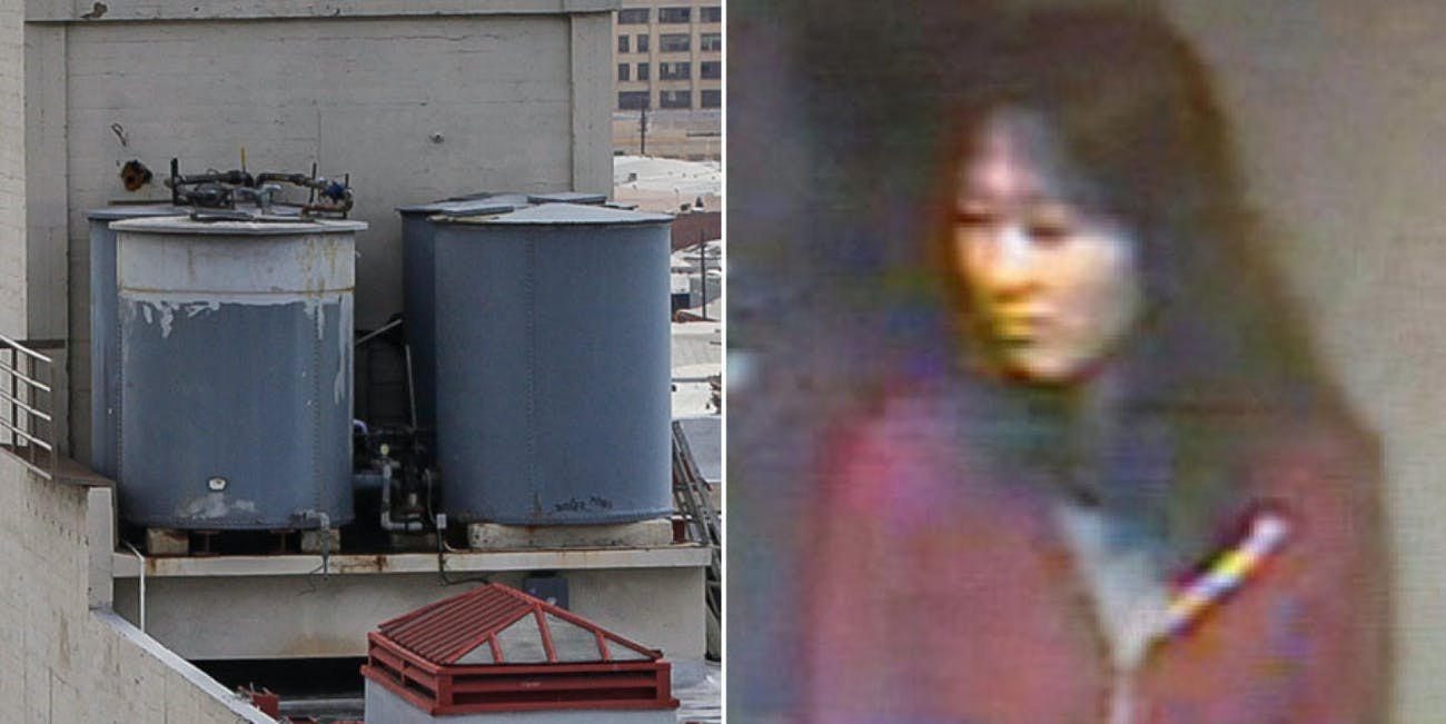 Elisa Lam caught on security footage and the water tank she was later found in.