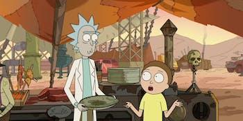 Rick and Morty try human flesh.