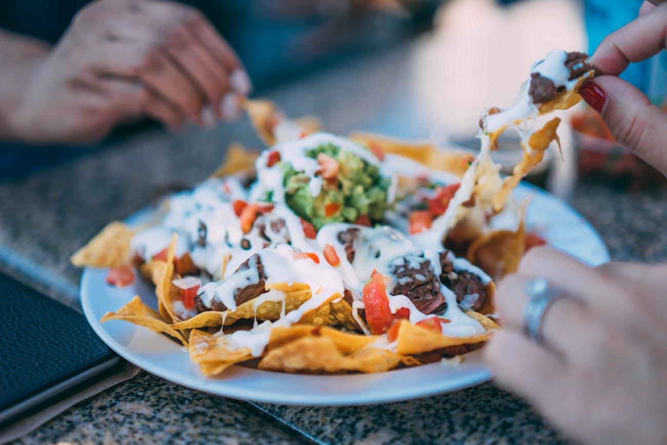 A plate of nachos.
