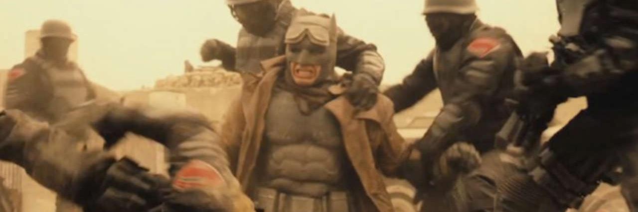 Ben Affleck fights off nightmare combatants and parademons in 'Batman v Superman'.