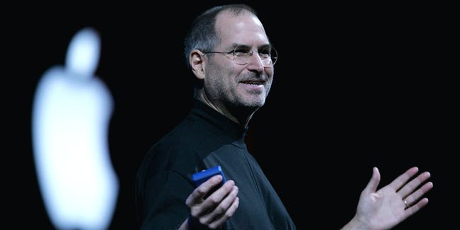 SAN FRANCISCO - JANUARY 11:  Apple CEO Steve Jobs delivers a keynote address at the 2005 Macworld Expo January 11, 2005 in San Francisco, California.  (Photo by Justin Sullivan/Getty Images)