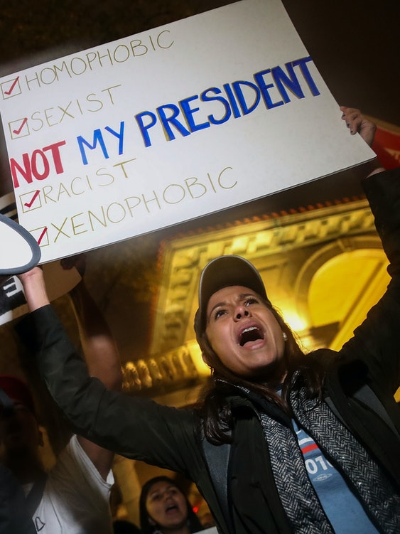 NEW YORK, NY - NOVEMBER 9: Protestors rally against Donald Trump in Union Square, November 9, 2016 in New York City. Republican candidate Donald Trump won the 2016 presidential election in the early hours of the morning in a widely unforeseen upset. (Photo by Drew Angerer/Getty Images)
