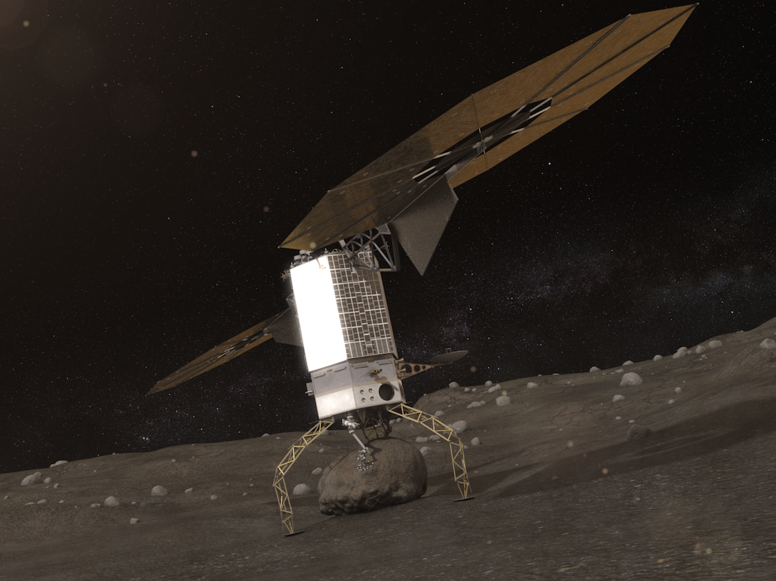 A rendering of the spacecraft swooping a boulder from the asteroid's surface.