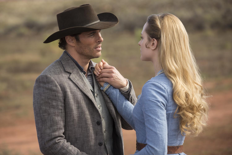 James Marsden as Teddy and Evan Rachel Wood as Dolores in 'Westworld'