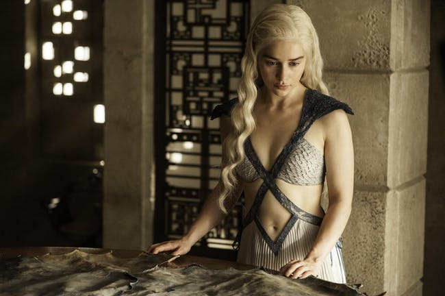 Emilia Clarke as Daenerys Targaryen in 'Game of Thrones' tops the most beautiful characters in the survey.