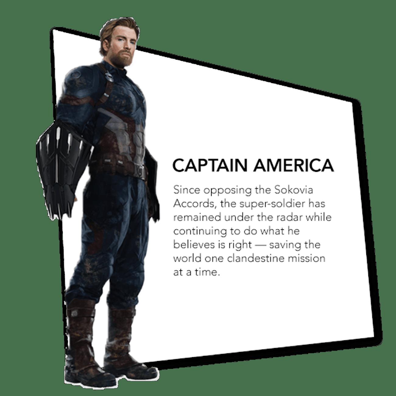 Captain America's 'Infinity War' bio.
