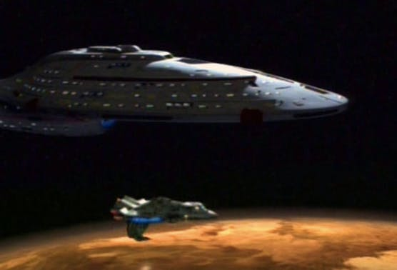 """The USS Voyager with the Val Jean in """"Caretaker Part 1"""""""