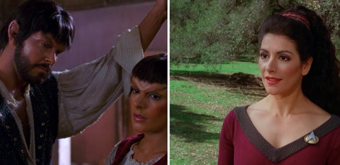 "RIGHT: Riker and Troi disguised as Mintakans in 'Who Watches the Watchers"" (1989). LEFT: Troi as she appeared in most episodes of 'The Next Generation.'"