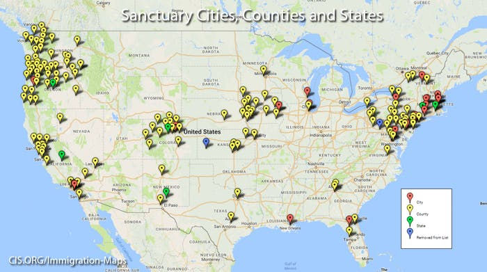 """These sanctuary jurisdictions"""" have laws, ordinances, regulations, resolutions, policies, or other practices that obstruct immigration enforcement and shield criminals from ICE."""