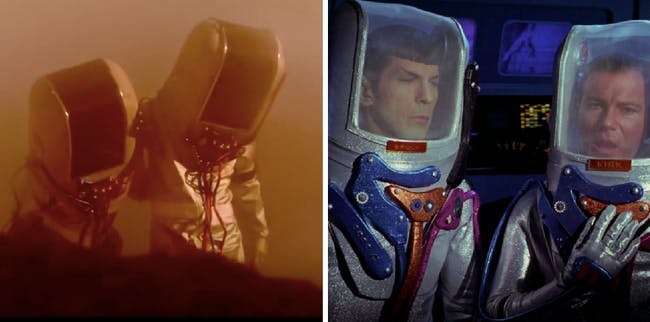 """LEFT: An imagined scene from Wendy's script in 'Please Stand By.' RIGHT: Kirk in Spock in """"The Tholian Web."""""""