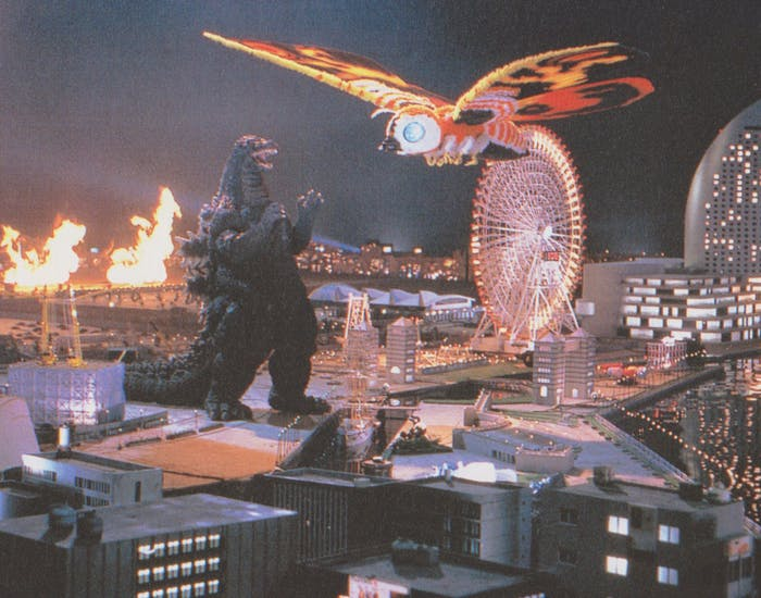 Godzilla fights Mothra in Yokohama in the 1992 movie.